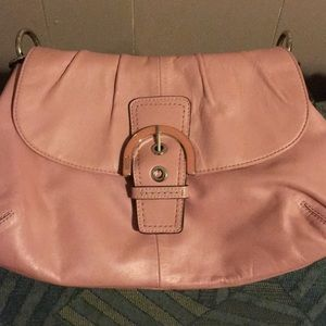 Pink Coach SoHo leather purse